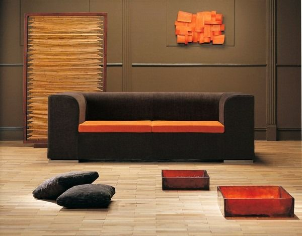 Muebles de sala negros - Complementos color naranja