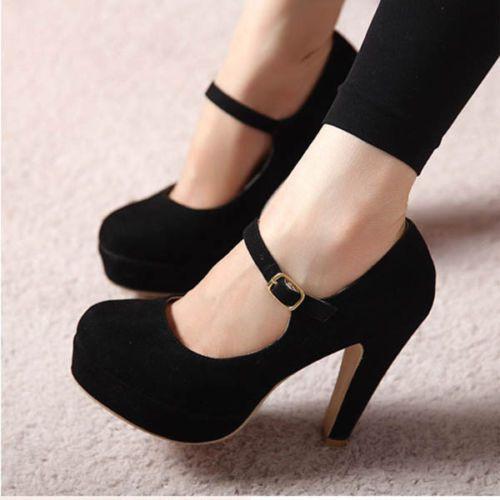 Women Sexy Suede Mary Jane Ankle Strap Platform Stilettos High Heel Pump ShoesSD