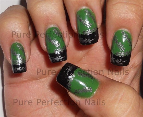 Frankenstein Inspired Halloween Stamping - Nail Art Gallery by NAILS Magazine