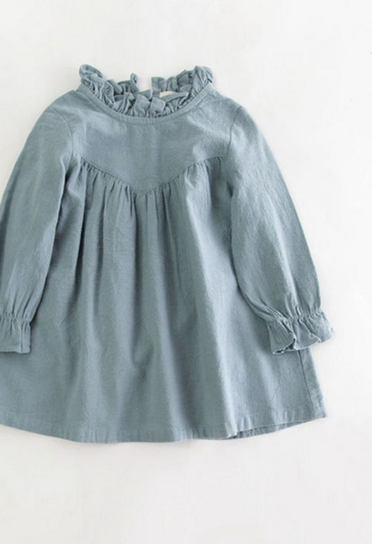 Sweet Ruffle Neck Toddler Dress