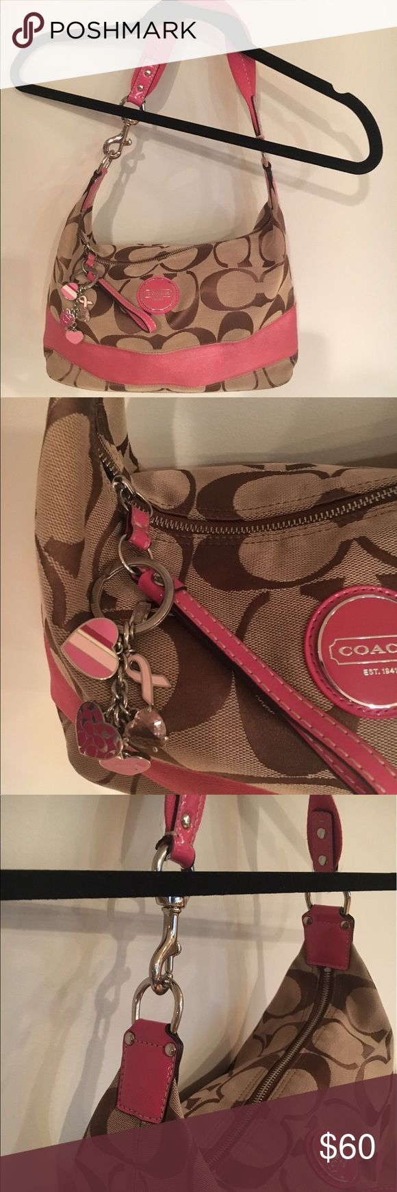 Coach Purse, Coach key Chain & Dust Bag Coach Purse, Coach key Chain & Dust Bag. Yes, it's authentic (I feel like I shouldn't have to say that). YKK zipper and patch inside. Gently used but mostly clean! Comes w/ Coach breast awareness key chain & dust bag! Coach Bags Shoulder Bags