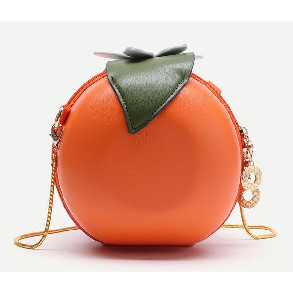 SheIn(sheinside) Orange Shaped Cute Crossbody Bag With Chain (29 NZD) ❤ liked on Polyvore featuring bags, handbags, shoulder bags, chain shoulder bag, leather crossbody, red shoulder bag, crossbody purses and leather handbags