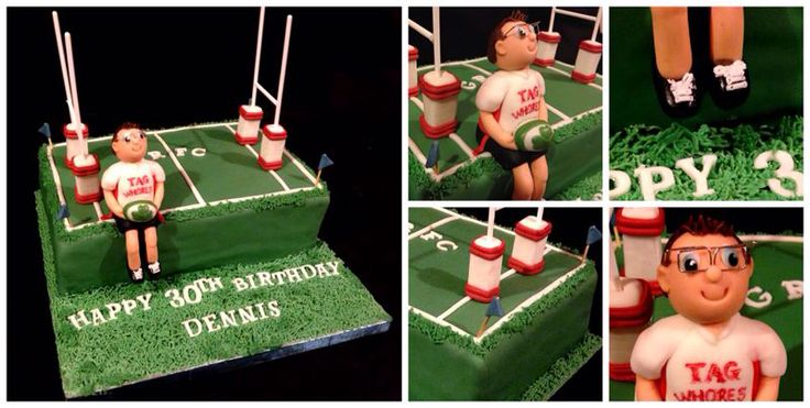 Tag rugby cake with modelled fondant topper