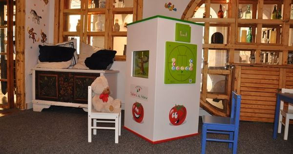 Interactive kids corner in an Italian restaurant. Customized 4-wall tower with two touchscreens and additional wall games.