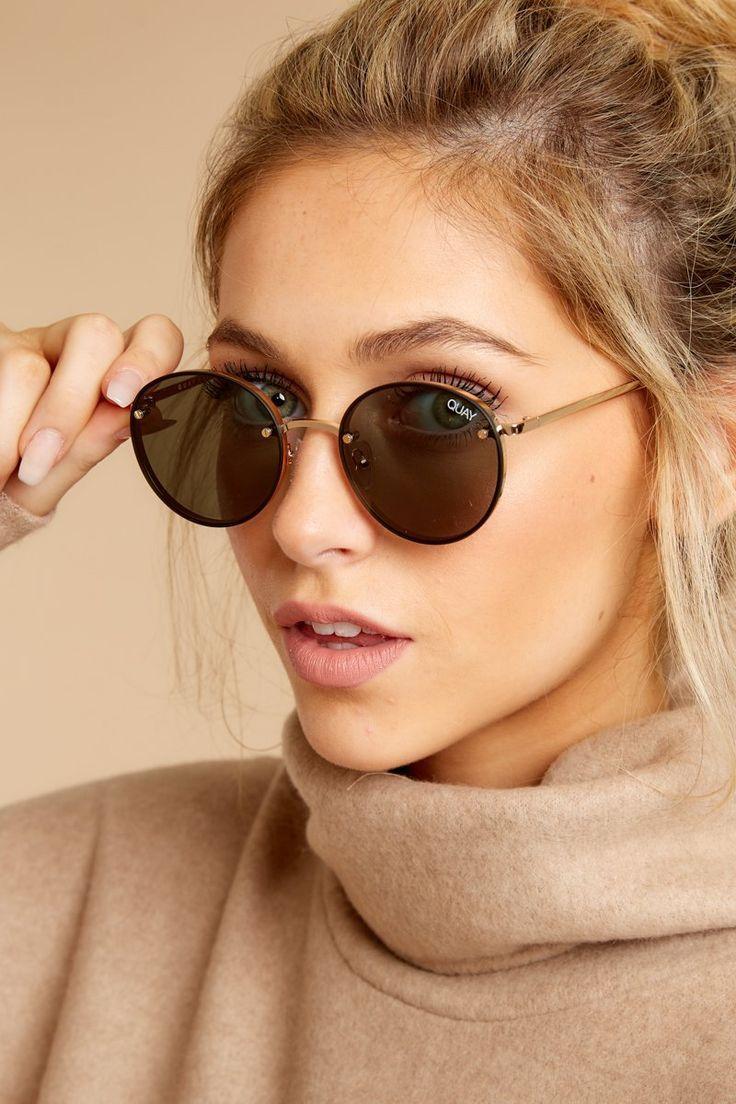 58600cc5163 Quay Australia Farrah Sunglasses - Chic Round Sunnies - Eyewear -  60 – Red  Dress Boutique