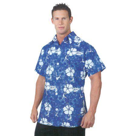 Blue Hawaiian Shirt Adult Halloween Costume, Men's, Size: Large