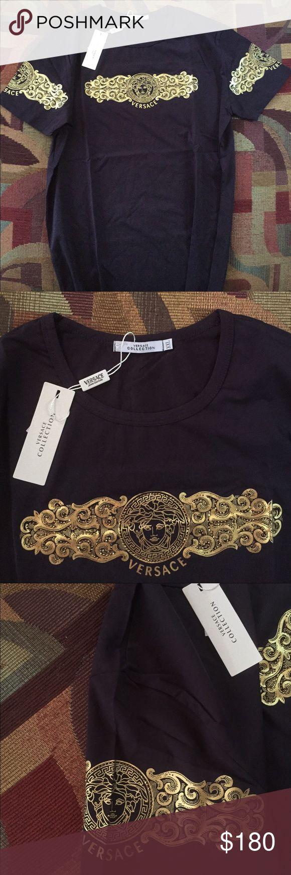 Men's Versace shirt Black and gold men's Versace shirt 😍 price reflects authenticity Versace Shirts Tees - Short Sleeve