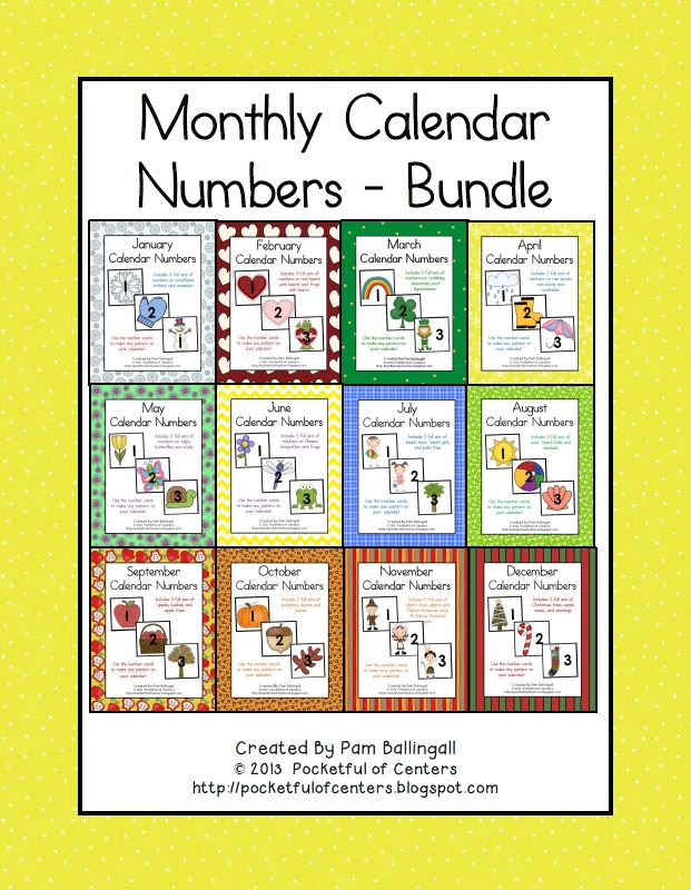 April Calendar Numbers : Monthly calendar numbers bundle calendars