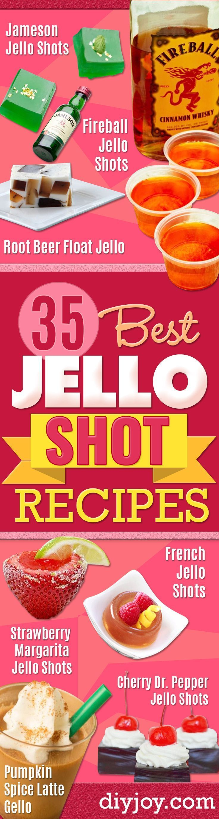Best Jello Shot Recipes - Easy Jello Shots Recipe Ideas with Vodka, Strawberry, Tequila, Rum, Jolly Rancher and Creative Alcohol - Unique and Fun Drinks for Parties like Whiskey Fireball, Fall Halloween Versions, Malibu, 4th of July, Birthday, Summer, Christmas and Birthdays http://diyjoy.com/best-jello-shot-recipes #christmasparties #vodkadrinks