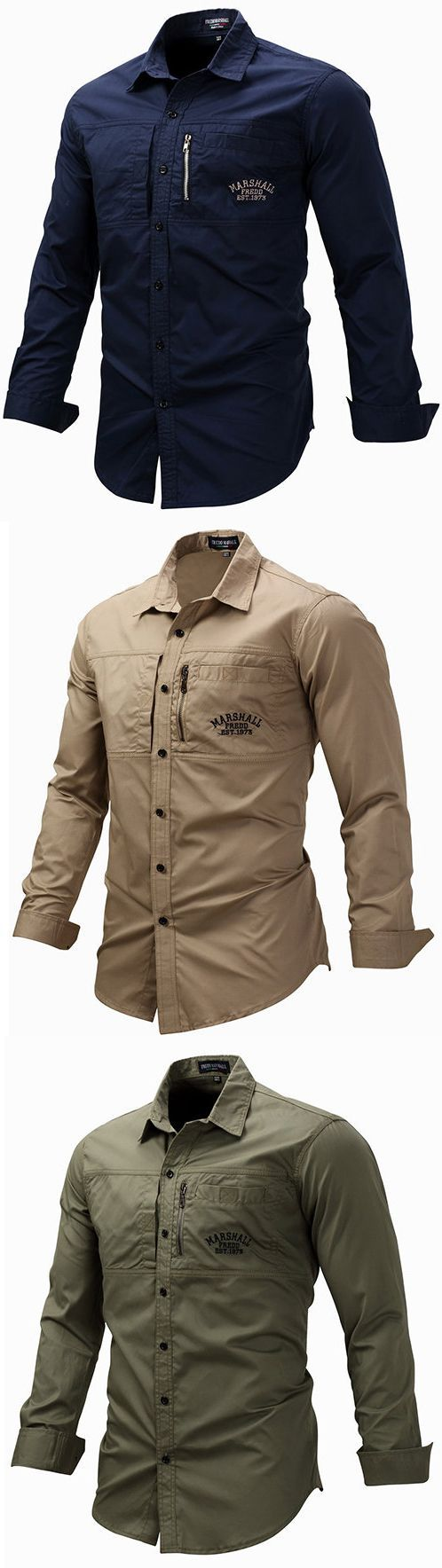 US$22.99#Casual Stylish Chest Pockets Loose Fit Work Shirts for Men