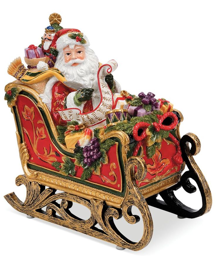 Closeout fitz and floyd regal holiday santa in sleigh