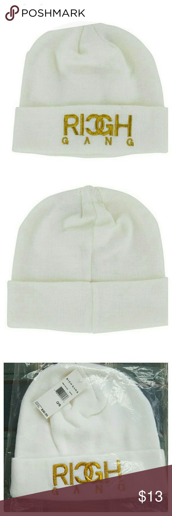 JUST ARRIVED: **MENS** Rich Gang knit beanie NWT White Mens knit Beanie  Brand: Rich Gang. Brand new with tags in package. Size. One size. Rich Gang Accessories Hats