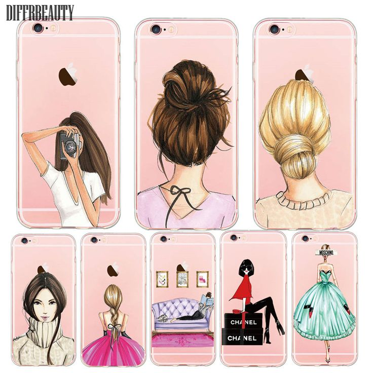 Fashionable Dress Shopping Beautiful Girl Case For iPhone 6 7 5s 6plus Ultra Thin Transparent Clear Soft TPU Silicon Phone Cover