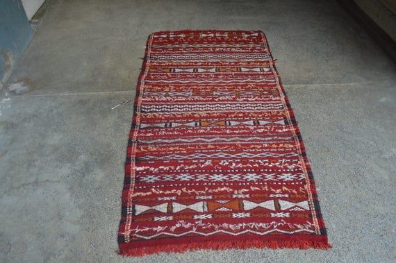 Stunning Vintage Berber Morccan Tribal Soumak Kilim Runner,Beautiful Full Soumak Tribal Marakash Tri