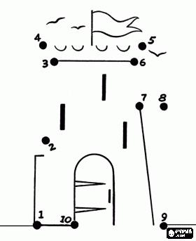 Finish deze tekening van een kasteel met een potlood kleurplaat