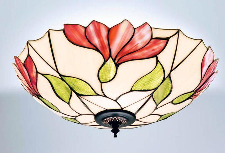 Lámparas Tiffany Polarfox - Lámpara de techo Malva Ø 45cm