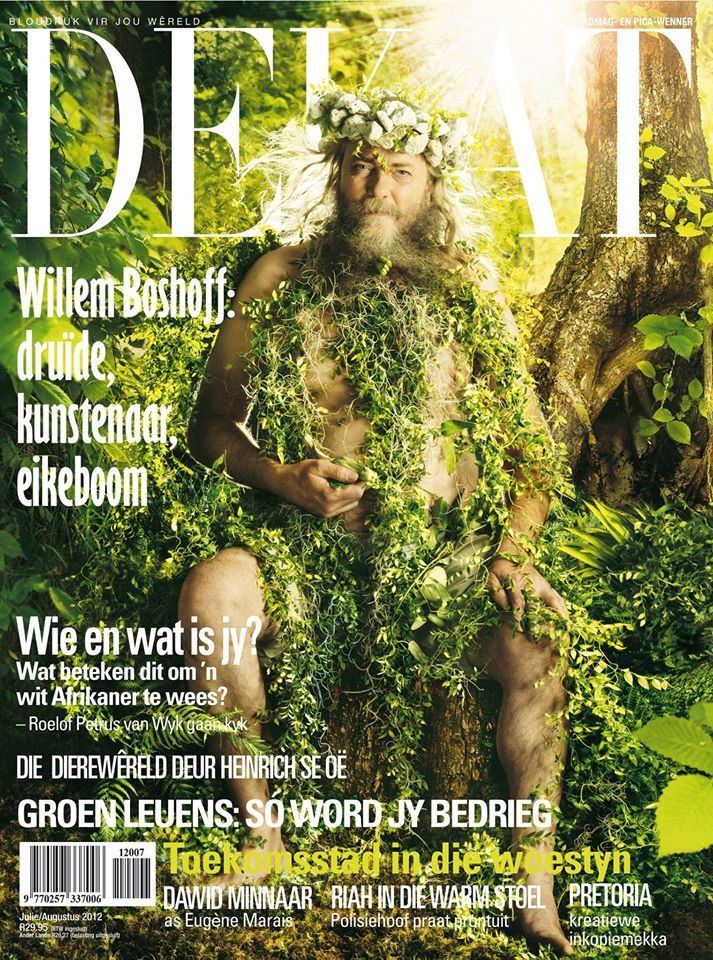 Willem Boshoff on the cover of DE KAT Magazine which featured an article on the artist. Photographer by Merwelene van der Merwe captures Boshoff, 'The Druid' in a playful manner, adorned by nothing but leaves.