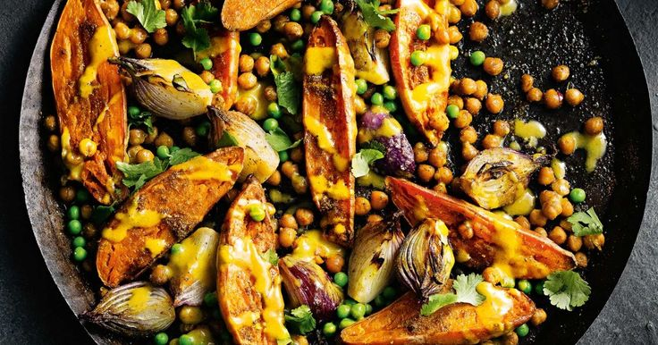 Curry powder adds loads of flavour to the roast vegies with minimum effort.