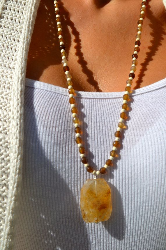 Long Beaded Cream and Brown Necklace with by uniquebeadingbyme, $28.00