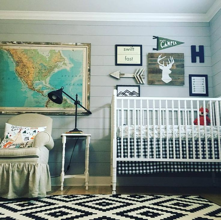 Rustic Vintage Baby Boy Nursery - love the mix of pattern and styles in this room!