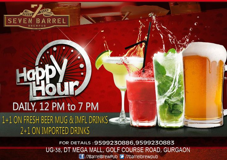 Happiness is Daily Happy Hours at 7 Barrel Brew Pub.. #happyhours #happyhoursingurgaon #freshbeer #craftbeer #oneplusone