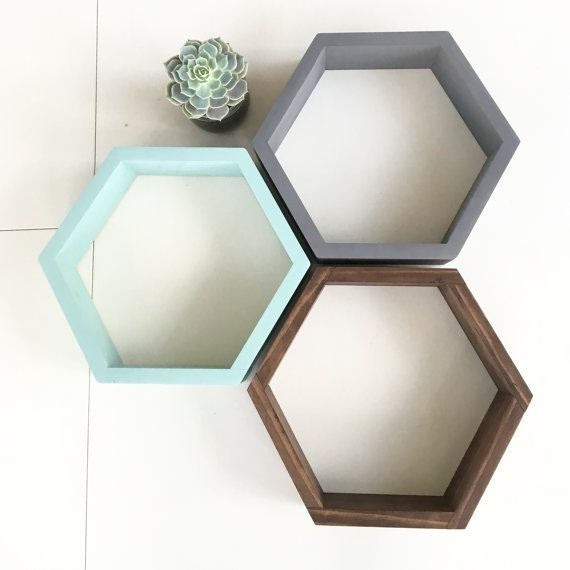Made to Order Set w/ dividing shelf -Hexagon Shelf -Minimalist Shelf -Modern…