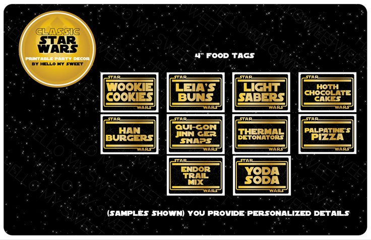 Star Wars Labels Food Tags Tent Cards Party Printable