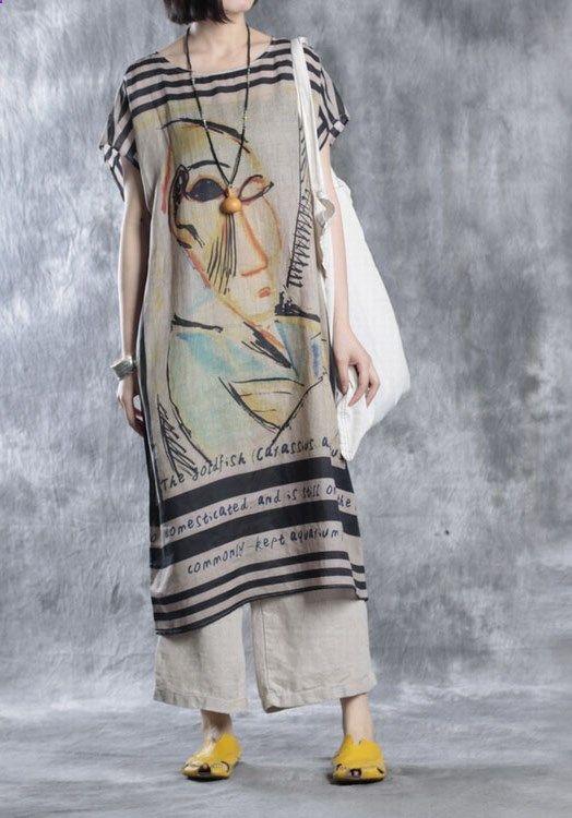 Plus size dresses Summer floral linen dress oversize caftan top quality