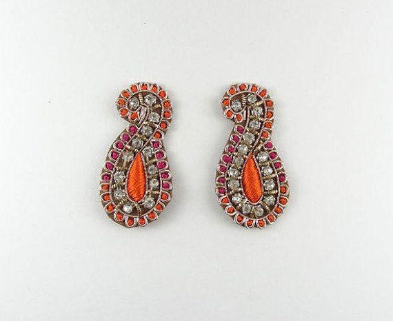 Applique  paisley applique  orange and by IndianCraftsBazaar