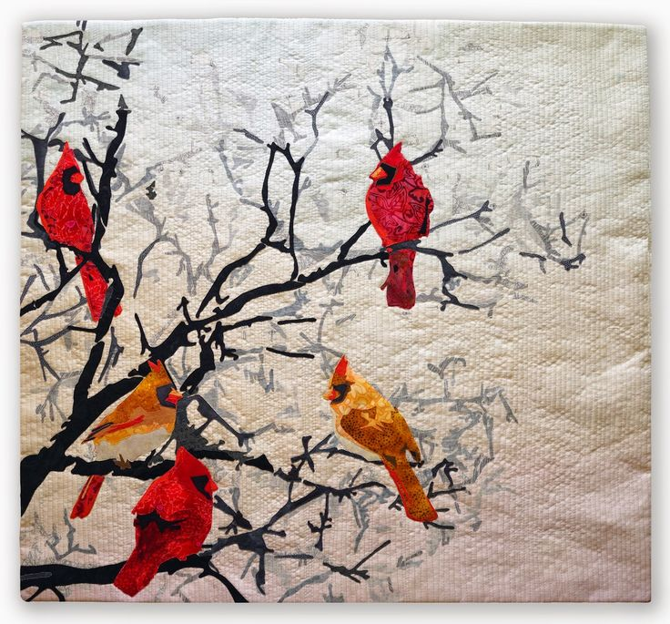 Wild life cardinals x the bird phase continues ive completed 3 bird quilts in the last 2 weeks