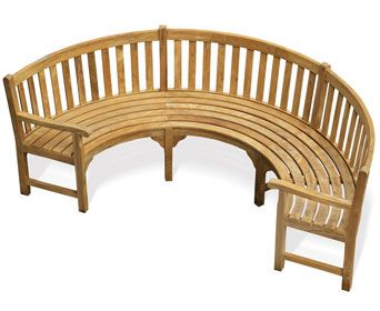 Ideal Henley Teak Curved Bench With Arms