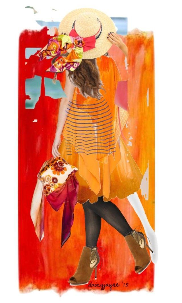 painterly charm by daizyjayne on Polyvore featuring Asilio, Steve Madden, Alexandre Birman, Pleats Please by Issey Miyake, Leona Lengyel, Versace, orange and contestentry