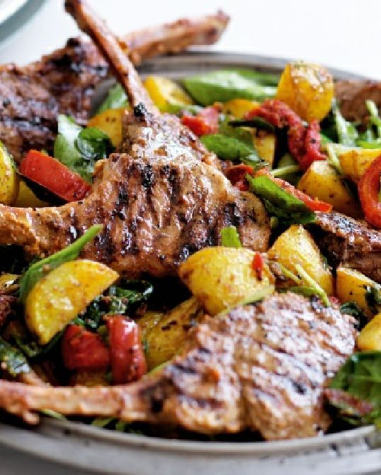 Low FODMAP Recipe and Gluten Free Recipe - Herbed lamb cutlets with roasted vegetables http://www.ibssano.com/low_fodmap_recipe_lamb_cutlets.html
