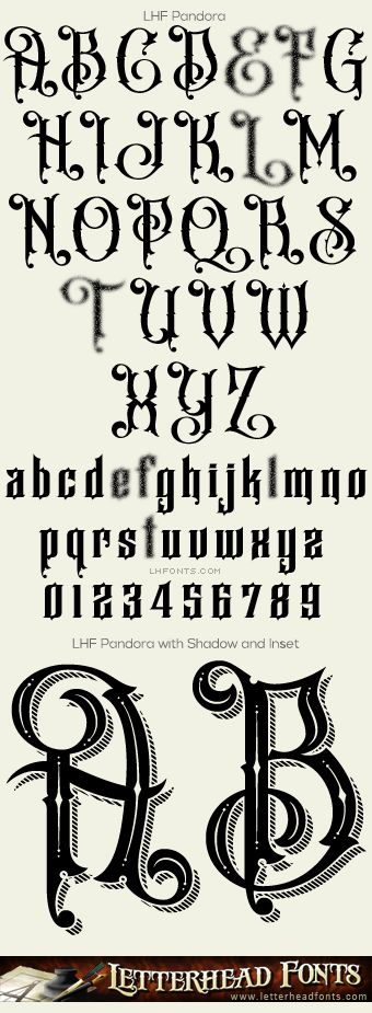 Letterhead Fonts / LHF Pandora font set / Different Fonts