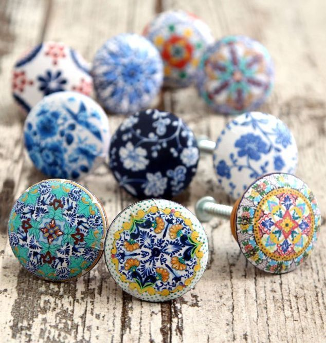 5 minute designer cabinet knobs, decoupage, diy, kitchen cabinets, kitchen design, repurposing upcycling