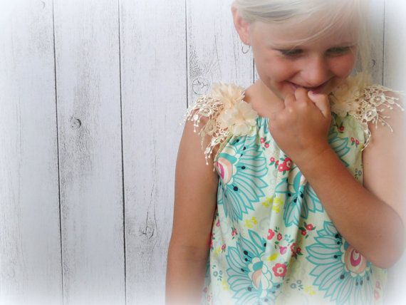 Cotton and Lace Girls Dress teal/ red floral by LittleMacsClothing, $35.00