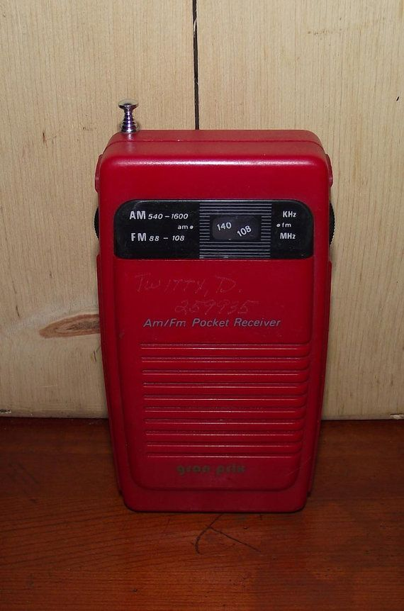 Red Gran Prix AM FM Radio Model A2090R from the late 1980s. Rad Hot little pocket radio measures 2 3/4 x 5 1/2 x 1 inches approximately. The radio