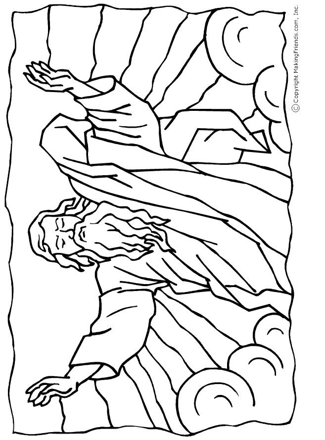 Red Sea Colouring Page Moses