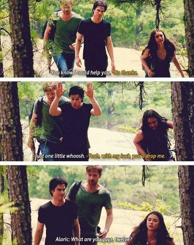 Lol... Alaric always saw what was going on between Damon and Elena, even when they didn't.