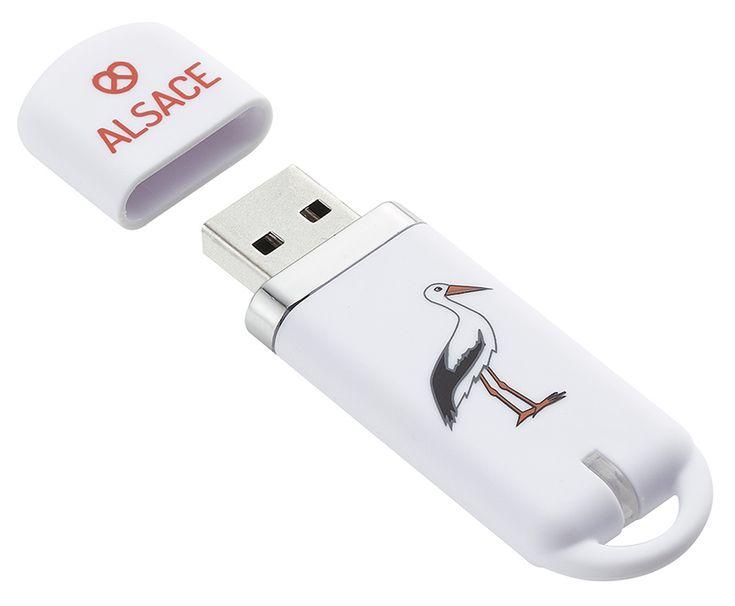 "Clé USB ""MAPPY"" 16 Go Alsace Cigogne - KeyOuest http://www.keyouest-mobility.com/produits/cle-usb-16-gb-mappy-alsace-cigogne-keyouest/"