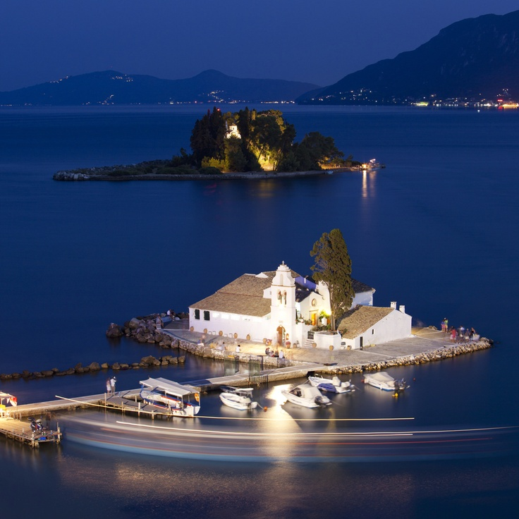 Vlacherna Monastery and Pontikonissi (Mouse island), Corfu island - Greece