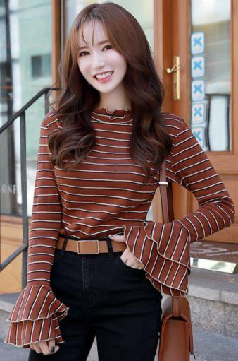 StyleOnme_Stripe Double Bell Sleeve T-shirt #cute #stripe #bellsleeve #falltrend #koreanfashion #kstyle #kfashion #dailylook #tee