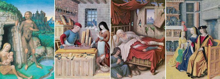 """Der französische Maler Jean Bourdichon (1457-1521) schuf diese vierteilige Serie über den Zustand der Gesellschaft. Er stellt die Zustände """"Wild"""", """"Arbeit"""", """"Arm"""" und """"Adel"""" einander gegenüber und zeigt damit sehr detailreiche Darstellungen z.B einer Werkstatt oder auch die Statussymbole des Adels wie den Schrank mit teurem Silbergeschirr. Interessant ist auch die Darstellung der Armut, die trotz fast zerstörtem Haus nicht auf Dinge wie Bett und Nachtgeschirr verzichten kann."""