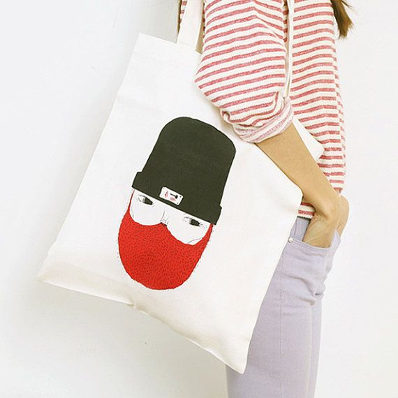 Lumber Jack Eco Bag  Hand Printed by DeliTime on Etsy