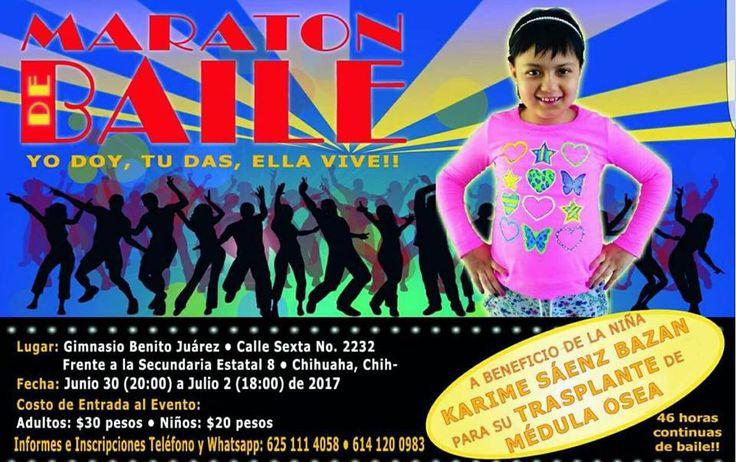 <p>* Realizarán maratón de baile a beneficio de niña con cáncer</p>  <p>Chihuahua, Chih.- Un maratón de baile