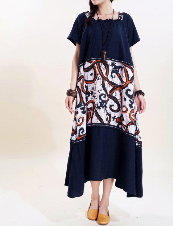 Linen Summer Maxi Dress/ Loose Fitting Sundress Short Sleeve Dress in Dark blue/ beige