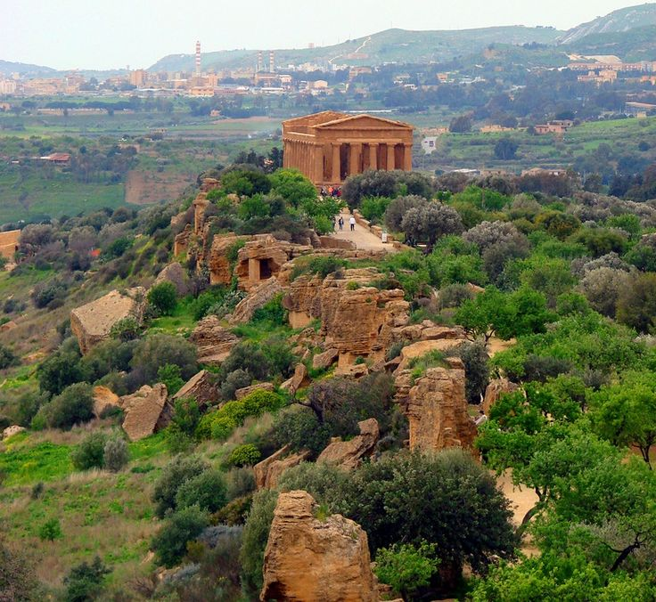 Agrigento, Sicily - A ridge runs parallel to the sea and on this ridge rest one…