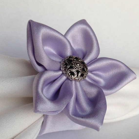 8 lavender napkin rings with silver vintage style by