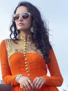 Kiah Orange Georgette Readymade Kurti