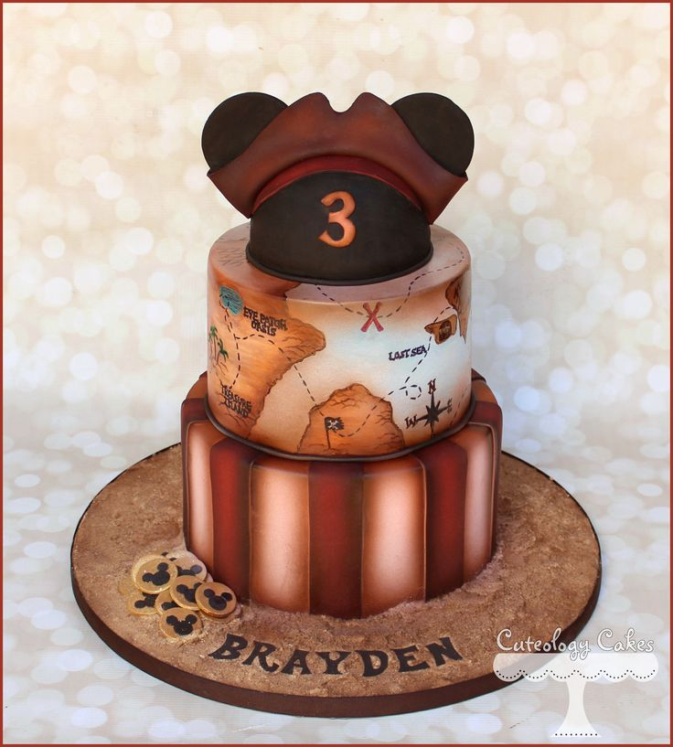 Pirate Mickey Mouse Cake with treasure map. www.facebook.com/i.love.cuteology.cakes